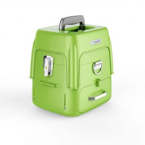 TiniFiber fusion splicer lime green toolbox with built in stool, item number TF-FS02