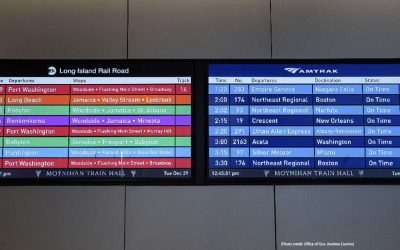 TiniFiber's Micro Armor Fiber Optic Cabling Solution applied in Moynihan Train Hall Digital Displays